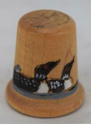 Hand Painted Artist Signed Loon Wood Thimble NM-MINT