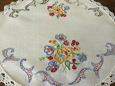 Vintage Hand Embroidered -Very Pretty Round Floral Doily
