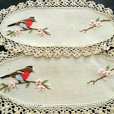 Vintage Hand Embroidered - Stunning Bull Finch & Blossom Doilies