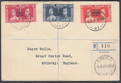 1937 Cook Islands Registered FDC; Aitutani to Grimsby, England