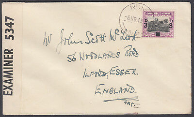 1940 Cook Islands Niue to Ilford, Essex; Censor