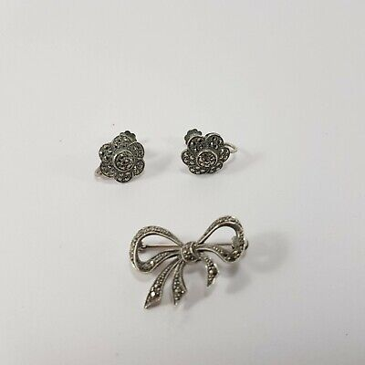 Marcasite Art Nouveau Sterling Silver floral Earrings and Broach
