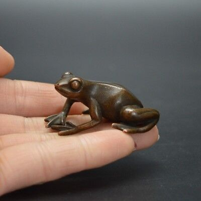 Chinese old collection handwork red copper little frog Tea pet statue