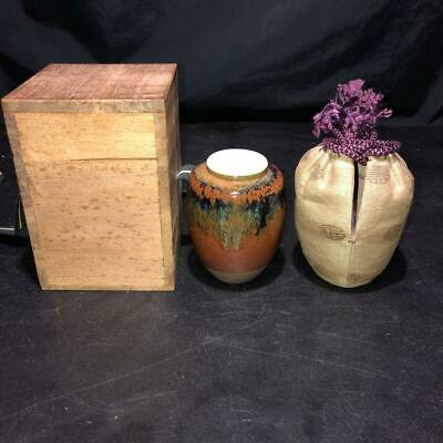 Japanese Old Seto-ware Katatsuki TEA CADDY Chaire Container w Shifuku & Box
