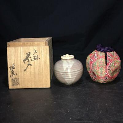 Japanese Old Bunrin TEA CADDY Chaire Container w Shifuku & Box Tea celemony