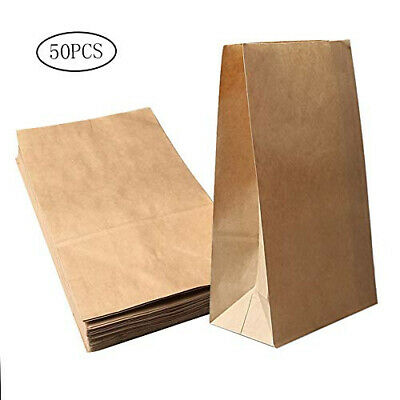 nuosen 50 Pieces Kraft Brown Paper Bags, Grocery Bag Storage Size 1