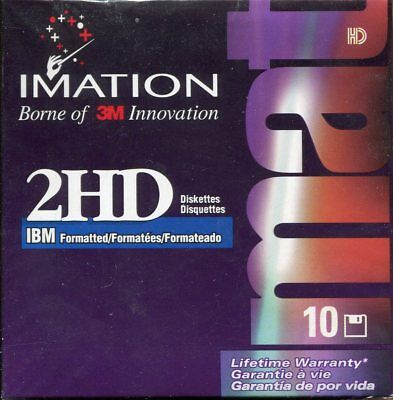"Ten Brand New Sealed Imation 3.5"" DS/HD Diskettes 1.44MB"