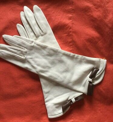 Pair Of Vintage Cream Fabric Gloves, With Brown Faux Leather Trim, Size 7 1/2