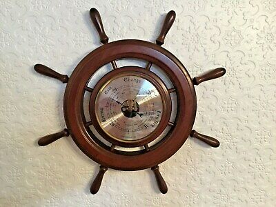 Large  Weathermaster Solid Wood Ships , Boats Wheel  Aneroid Wall Barometer