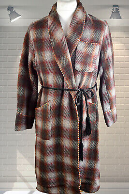 Vintage Gents 1950s Shawl Collar Dandy Wool Dressing Gown Smoking Jacket 42""