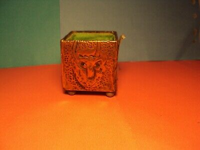 Vintage Match Holder ? Arts & Crafts ? Hand Beaten Copper Devilish Faces