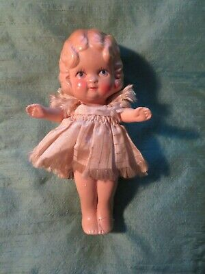 Antique German Bisque Doll Moulded Hair Hand Painted Face Jointed Arms Marked 7""