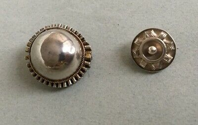 2 x ANTIQUE SILVER VICTORIAN BROOCHES brooch 19th century pin target small