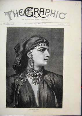 Old Antique Print 1869 Portrait Beautiful Egyptian Girl Headscarf Sketch 19th