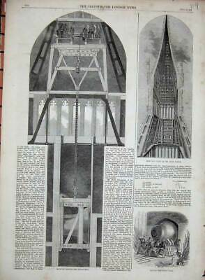 Old Antique Print 1858 Great Bell Palace Westminster Clock Tower London 19th