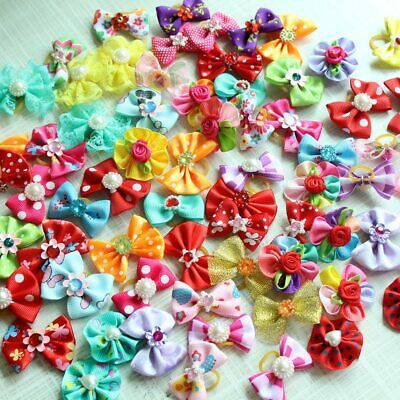 50pairs Dog Hair Bows Pet Cat Rhinestone Pearl Bow Accessories Grooming Supplies