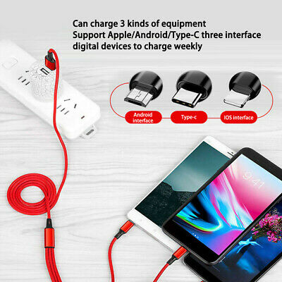 USB Charging Cable Universal 3 in 1 Multi Function Cell Phone Charger Cord NEW..