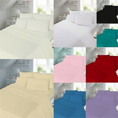 Thermal Flannelette Fitted Flat Sheets Single Double King Sizes Brushed Cotton