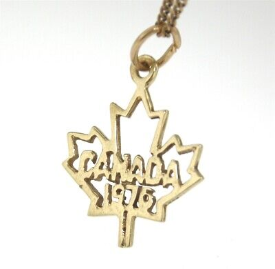 10ct Yellow Gold 1976 MONTREAL OLYMPICS CANADIAN MAPLE LEAF CHARM Genuine Gold