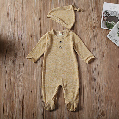 Newborn Infant Baby Boy Girl Knitted Romper Bodysuit Jumpsuit Clothes Outfit