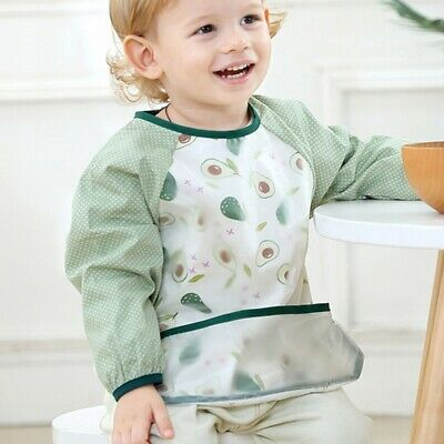 Children's Waterproof Sleeved Bibs Baby Toddler Bibs Feeding Smock Apron New