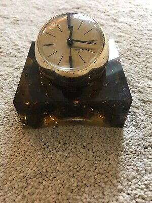 Brass Swiza Ball Design Swiss Clock With Glass Stand