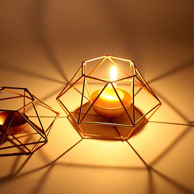 Candle Holder Nordic Style Craft Geometric Shape Ornament Home Iron Art Dinner