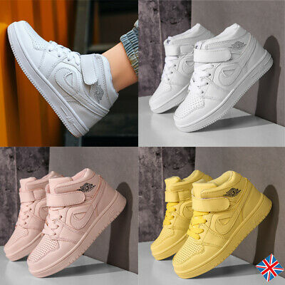 Boys Sports Trainers Skate Faux Leather Kids High Top Basketball Boots Shoes HOT