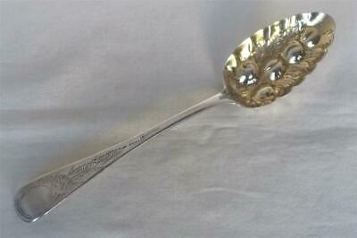 A Stunning Large Antique Solid Sterling Silver Georgian Fruit Berry Spoon 1821.