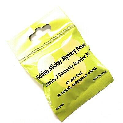 Disney World Hidden Mickey Mystery Lime 2 Pin Pack Bag Pouch Sealed 2019 - NEW
