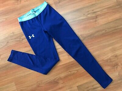 GIRLS Blue UNDER ARMOUR GYM DANCE LEGGINGS (age9-10) *NICE COND*