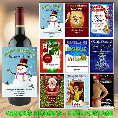 Personalised CHRISTMAS Wine Champagne Bottle Label N4 Gift Idea for him her
