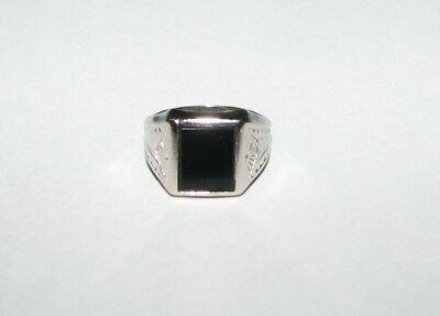 Estate Vintage Antique Art Deco 10K White Gold & Onyx Signet Ring Size 5 1/2 5.5