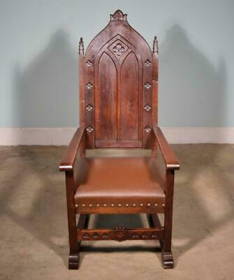 *Antique Gothic Revival in Highly Carved Solid Oak Throne Chair