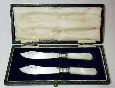 Pair Antique Silver Plated Mother Of Pearl Butter Knives Cased John Sanderson