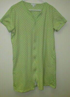 Women's Charter Club Lime Green With White Polka Dots Sleepwear Size Xl