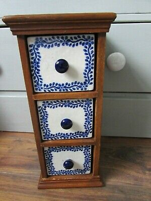 Miniature Wooden Chest With White & Blue Ceramic Drawers