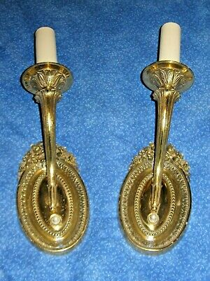 French Style Pair Wall Sconce Solid Brass Flower Arms Electric