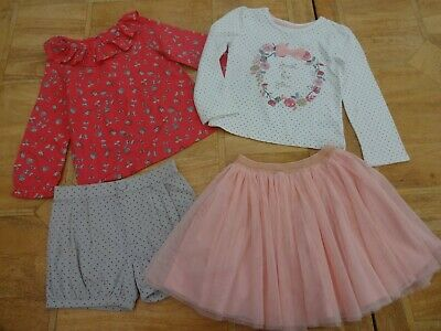 Girls Mothercare 2 x Mix & Match Outfits Shorts Top Blouse Tutu Skirt - Age 4-5