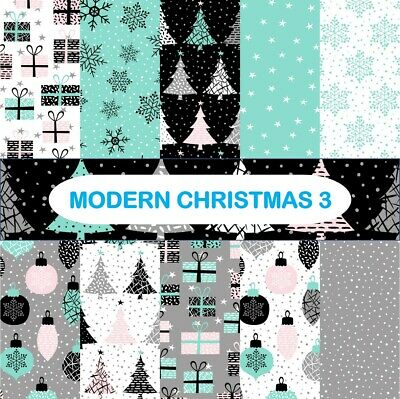 MODERN CHRISTMAS 3 SCRAPBOOK PAPER - 10 x A4 pages.