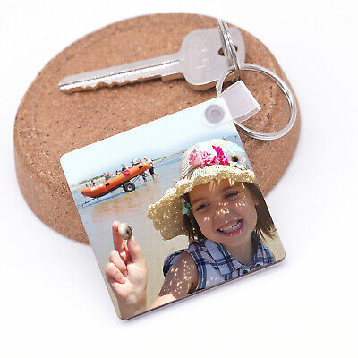 Personalised Photo Keyring Any Picture Custom  Double Side Print Christmas Gift