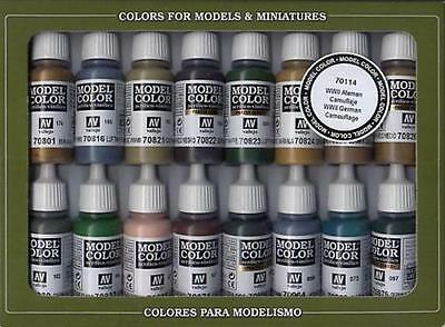 Model Color Set - WWII German Camouflage (x16)- VAL70114 + free brush
