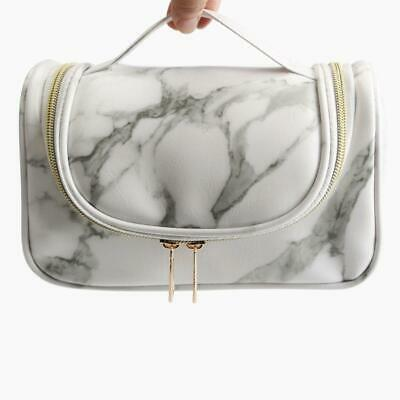 Marble Pattern Makeup Bag Portable Cosmetic Case Storage Box Handle Organizer