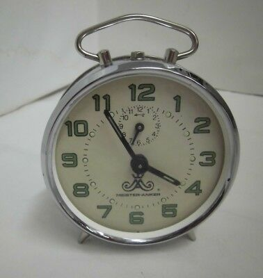 Old Alarm Clock Silver Meister Anker Mechanical Vintage Clock
