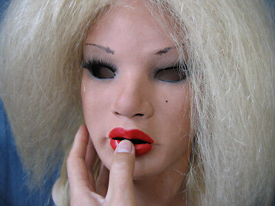 Latex Mask MAYLEE RED B +LASHES +WIG - Real. Female Rubber Mask Face Trans Sissy