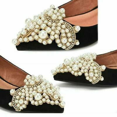 2x Pearl Flower Shoe Clip Rhinestones Iron on Pearl Patch Applique Accessory DIY