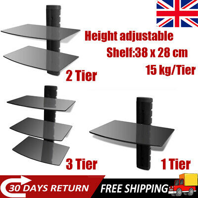 Floating DVD Shelf Tempered Glass 1/2/3 Tier Wall Mounted PS4 Xbox Rack Unit