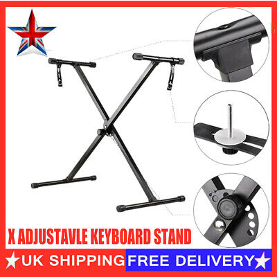 UK Heavy Duty X Frame Folding Adjustable Keyboard Stand Holder Piano With Straps