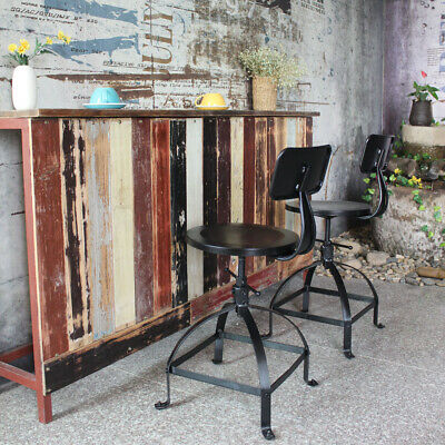 Industrial Style Adjustable Wooden Top Stool 550022