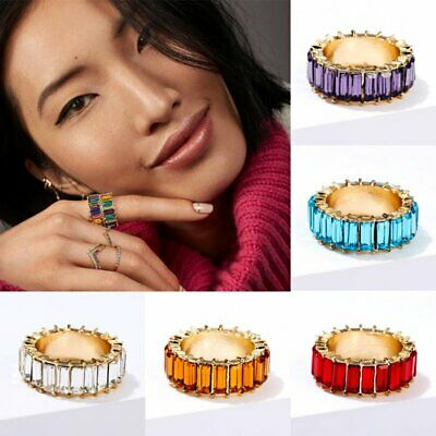 Zirconia Cubic Crystal Eternity Baguette Rainbow Stackable Friendship Rings Band